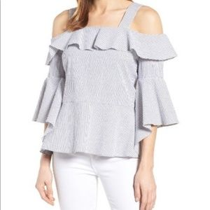 Halogen Cold Shoulder Ruffle Poplin Top